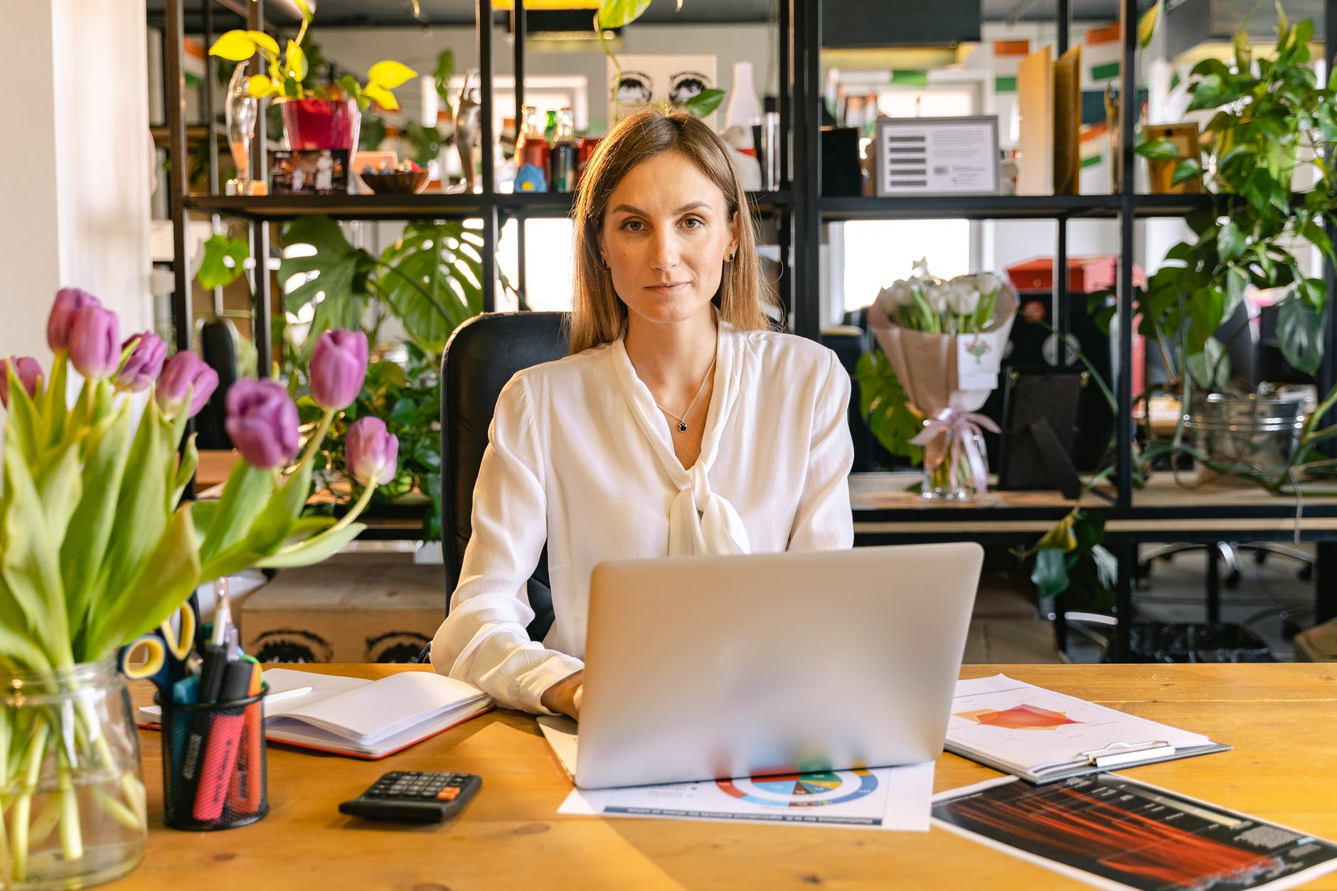 portrait shot of an employee using a laptop